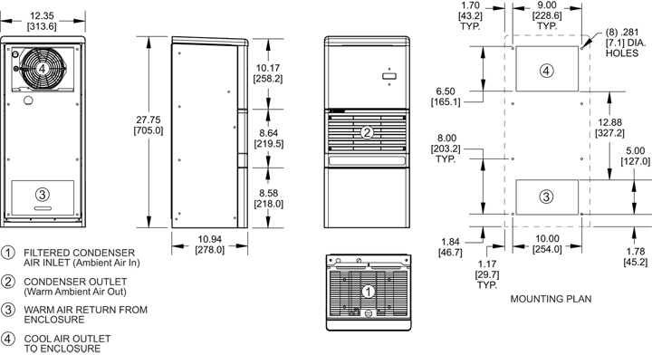 Advantage RP28 Air Conditioner general arrangement drawing