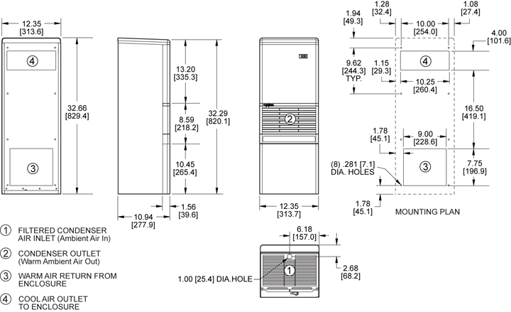 Advantage RP33 Air Conditioner general arrangement drawing