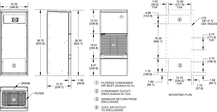 Advantage RP36 Air Conditioner general arrangement drawing