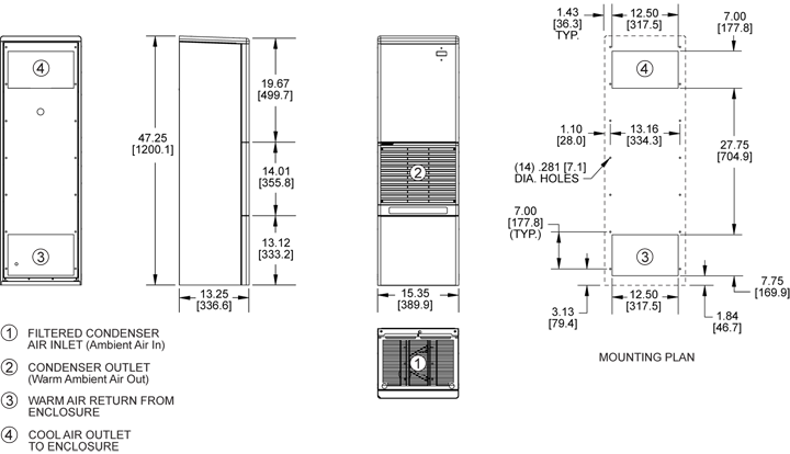 Advantage RP47 (Dis.) Air Conditioner general arrangement drawing