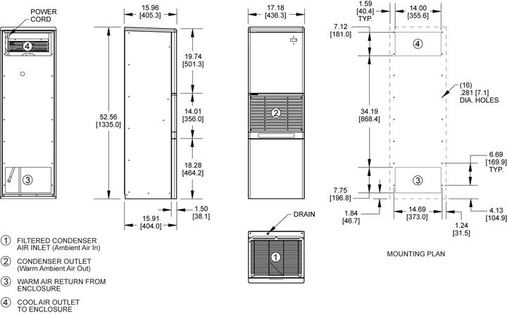 Advantage RP52 (Dis.) Air Conditioner general arrangement drawing