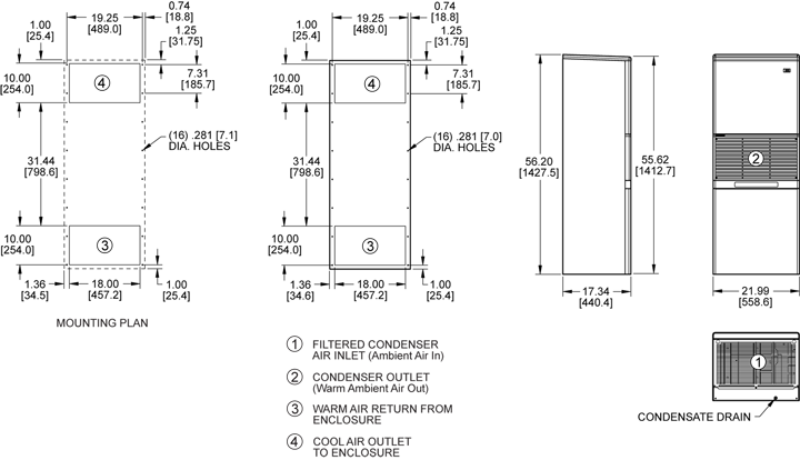Advantage RP55 (Dis.) Air Conditioner general arrangement drawing