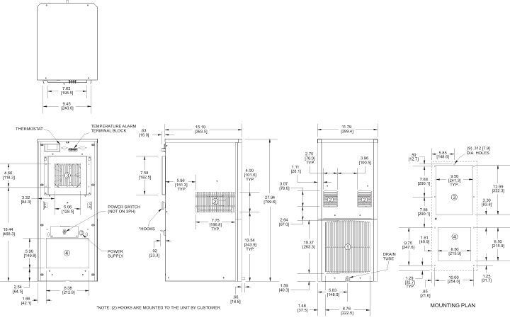 SlimKool SP28 480V Air Conditioner general arrangement drawing