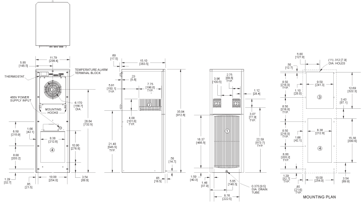 SlimKool SP36 480V Air Conditioner general arrangement drawing