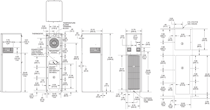 SlimKool SP43 Air Conditioner general arrangement drawing