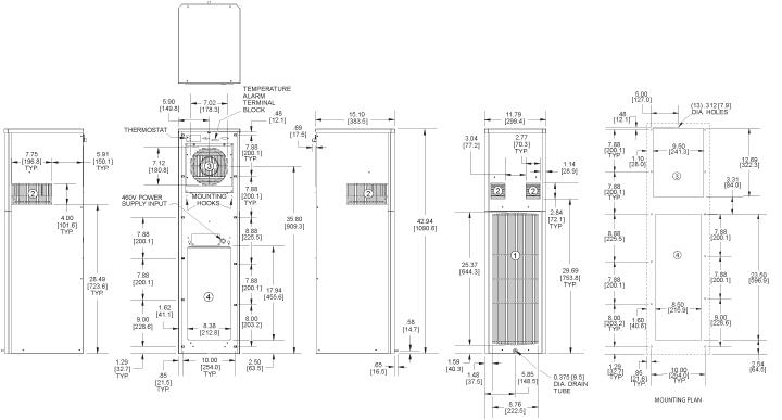 SlimKool SP43 480V Air Conditioner general arrangement drawing