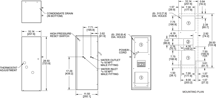 TrimLine WNP28 Air Conditioner general arrangement drawing
