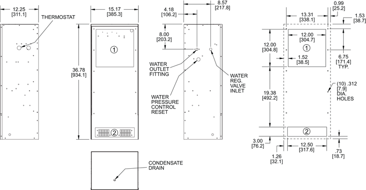 WNP36 (Switchable) Air Conditioner general arrangement drawing