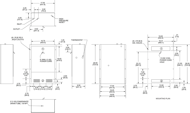 WP28 (Discontinued) Air Conditioner general arrangement drawing