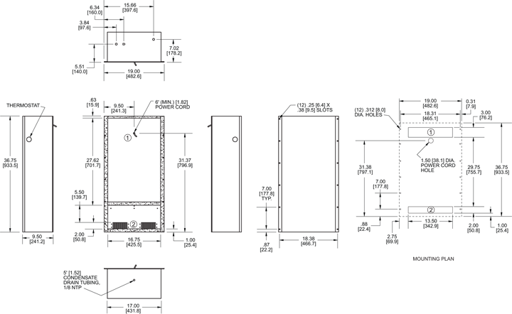 Traditional WP36 Air Conditioner general arrangement drawing
