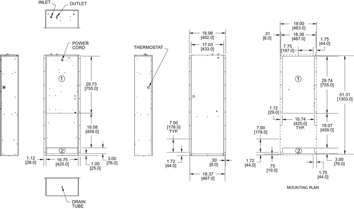 Traditional WP52 Air Conditioner general arrangement drawing